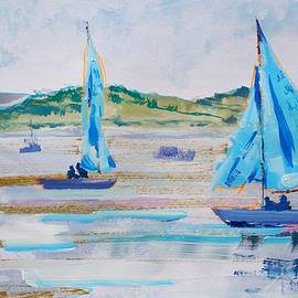 Sailing Boats With Blue Sails On The River Exe At Exmouth by Mike Jory