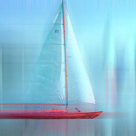 Sailing Nautical Blues Painting Dreamscape by Debra and Dave Vanderlaan