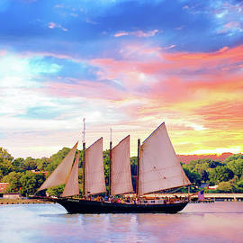 Sails In The Wind At Sunset On The York River by Ola Allen