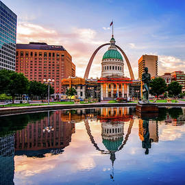 Saint Louis Gateway Arch Colorful Reflections - Square Edition by Gregory Ballos
