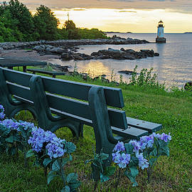Salem Ma Flower Bench Winter Island Pickering Light Sunrise by Toby McGuire
