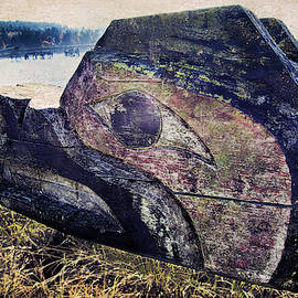 Salish Native Carving Of Bear On Sechelt Waterfront by Peggy Collins