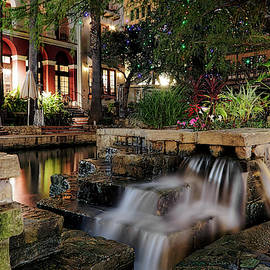 San Antonio Riverwalk Waterfall - Christmas - Texas by Jason Politte