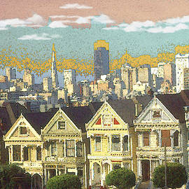 San Francisco Alamo Square - Color Illustration Drawing by Peter Potter
