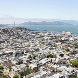 San Francisco Cityscape Panorama West View With Golden Gate Bridge Fishermans Wharf Pier 39 R605 Sq by Wingsdomain Art and Photography