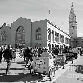 San Francisco Rickshaw Pedicab Brigade At The Ferry Building  On The Embarcadero Dsc6764bw by Wingsdomain Art and Photography