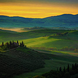 San Quirico D' Orcia At Sunrise by Chris Lord