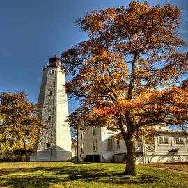 Sandy Hook lighthouse in New Jersey autumn scenic  by Geraldine Scull