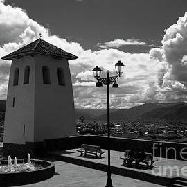 Santa Ana Church Tower In Monochrome Cusco Peru by James Brunker