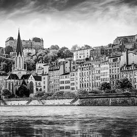 Saone Riverside Lyon France Black and White