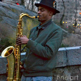 Saxophone in Central Park New York by Miriam Danar