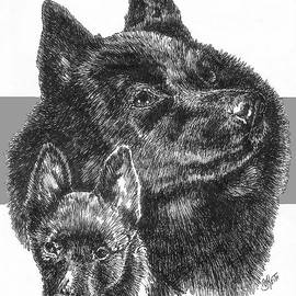 Schipperke and Pup by Barbara Keith