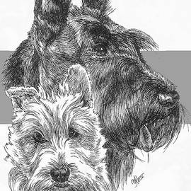 Scottish Terrier and Pup by Barbara Keith