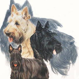 Scottish Terrier Grouping by Barbara Keith