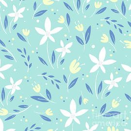 Sea Kiss Floral Blue Summer Flowers Pattern by Sharon Mau