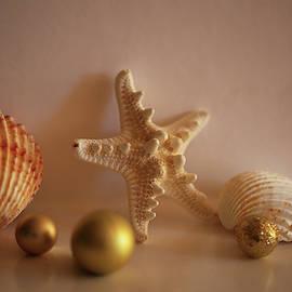 Seashells and Starfish with Golden Christmas Balls by Rusalka Koroleva