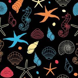 Seashells Seahorse And Starfish by Nautical Art