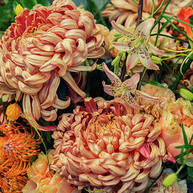 Seasonal Autumn Flowers In Vase by Ariadna De Raadt