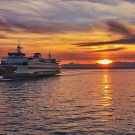 Seattle Ferry at Sunset by Jerry Abbott