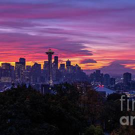 Seattle Fiery Sunrise from Kerry Park by Mike Reid