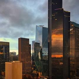Seattle Skyline Sunset Reflection  by Jerry Abbott