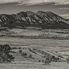 Sepia Panorama of Flatirons Mountain Range in Boulder - Rocky Mountains Colorado  by Silvio Ligutti