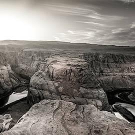 Sepia photo sunset in the Horseshoe Bend, Page Arizona by Rod Gimenez