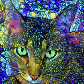 Severus The Tabby Cat - Stained Glass by Peggy Collins