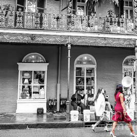 She Wore Red In The French Quarter New Orleans by John Rizzuto