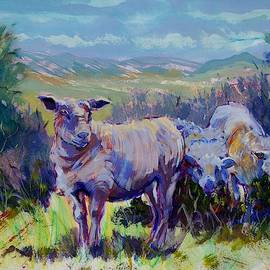 Sheep And Landscape Painting by Mike Jory
