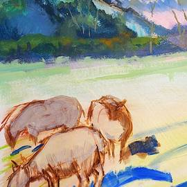 Sheep And Landscape Painting With Dramatic Light And Purple Sky by Mike Jory
