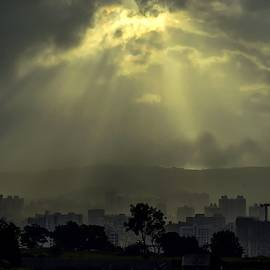 Shining Beams Over The City L A S by Gert J Rheeders