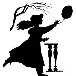 Silhouette Girl Chasing A Balloon by Rose Santuci-Sofranko