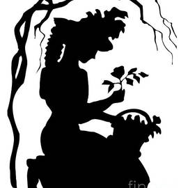 Silhouette Woman Picking Roses by Rose Santuci-Sofranko