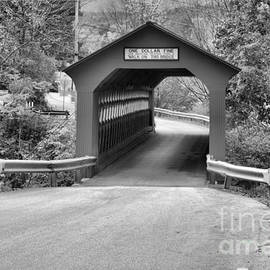 Single Lane Chiselville Covered Bridge Black And White by Adam Jewell