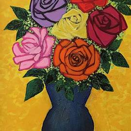 Six Roses In The Blue Vase On The Red Round Table  by Jean Fassina