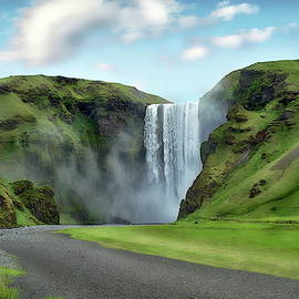 Skogafoss Waterfall Scenic by Anthony Dezenzio