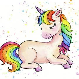Sleeping Baby Rainbow Unicorn by Olga Shvartsur