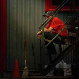 Smoker In Red No. 2 by Juan Contreras