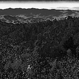 Smoky Moutains Overlook - B W - Pano by Mark Fuge