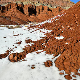 Snow Mosaic Beneath The Castle In Capitol Reef by Ray Mathis