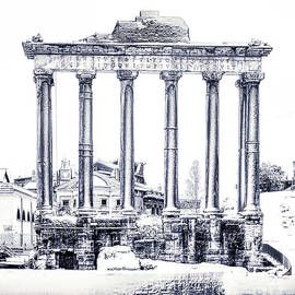 Snow over Roman Forum and Palatine Hill - Black and White by Stefano Senise