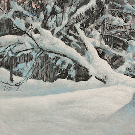 Snow Scene in the Forest by Hans Egil Saele