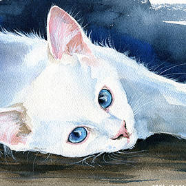 Snow White - Cat Painting by Dora Hathazi Mendes