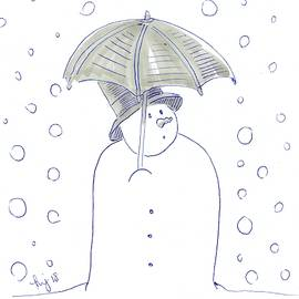 Snowman Umbrella Cartoon Gaining Weight At Christmas by Mike Jory
