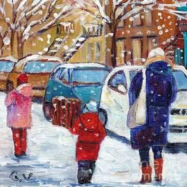 Grace Venditti - Snowy Day Montreal Winter Scene Painting Verdun December City Scene Quebec Artist G Venditti