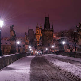 Snowy Prague. Purple Night 1 by Jenny Rainbow