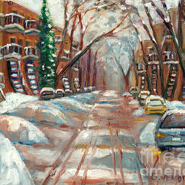 Grace Venditti - Snowy Street After The Storm Montreal Winter Street Scene With Outdoor Staircases Painting