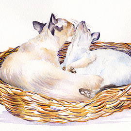 Snuggling Cats by Debra Hall