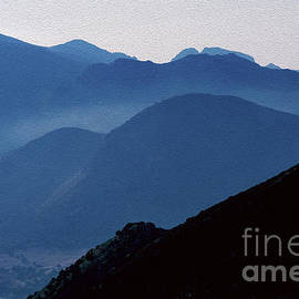 Soft Sicilian blues in the hills beyond Lago Rosamarina, Caccamo, Sicily, Italy - textured finish by Terence Kerr
